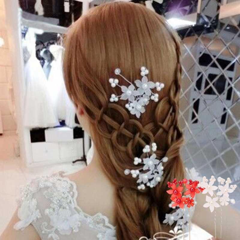 Charm Flower Wedding Bride Rhinestone Floral Head Piece Pearl Hair Pins Clip Head Hairpin Bridal Hairpin Jewelry Hair Accessory
