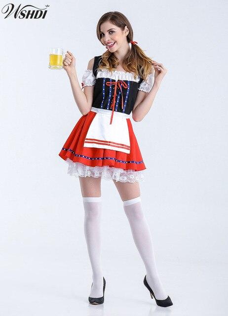 2018 Nuove Donne German Beer Domestica Contadino Dirndl Costume Di