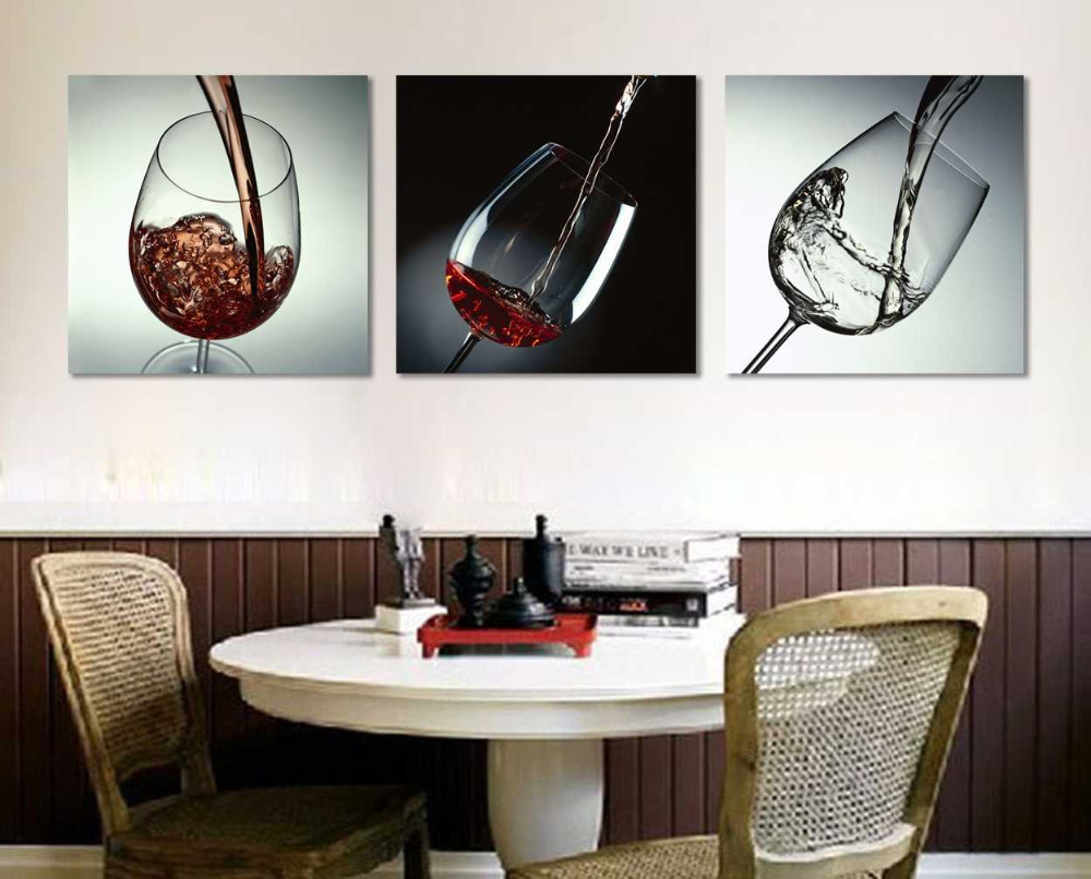 3 piece no frame modern kitchen canvas paintings red wine for Kitchen paintings pictures