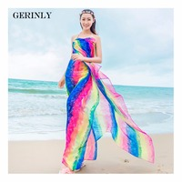GERINLY New Women S Soft Long Striped Rainbow Print Sarong Wrap Shawl Fashion Beach Scarf Swimsuit