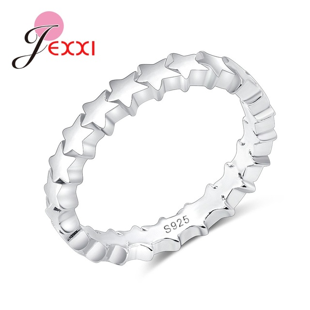 JEXXI Star Trail Stackable Finger Ring For Women Wedding 100% S90 Silver Jewelry