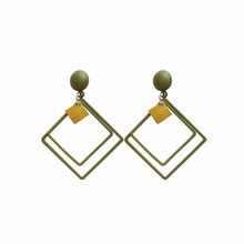 Frosted square double-layer pendant personality exaggerated Earrings accessories female fashion quality long earrings