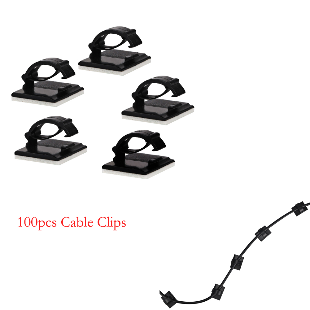 100Pcs/Lot Adhesive Car Cable Clips Cable Winder Drop Wire Tie Fixer Holder Organizer De ...