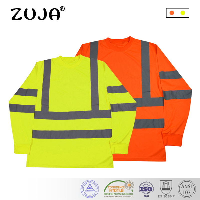 Long Sleeve Safety Work Shirt Breathable Work Clothes Safety Reflective Safety Polo Shirt