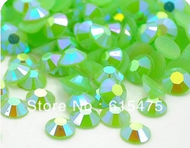 6mm Jalea Verde AB Color SS30 rhinestones de la Resina cristalina flatback Del Arte Del Clavo, 10,000 unids/bolsa