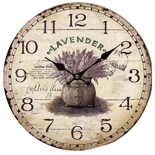 New Vintage Antique Style 34cm Wall Clock Home Bedroom Kitchen Quartz (Pattern:lavender+pot)