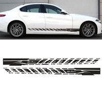 2PCS New Stickers Decal for Alfa Romeo 147 156 159 166 Giulietta Stripe body kit Door Handle Guard Sill # 0001