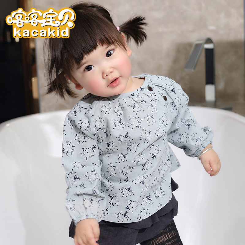 KACAKID Official Store Spring Sweet Baby Girls Blouse Cute Flower Pattern Baby Girls Blouse Korean Style Baby Girl Blouse Ka3378