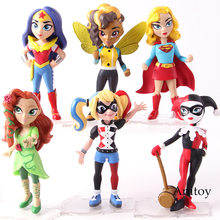DC Comics Harley Quinn Supergirl Poison Ivy Wonder Woman Action Figure PVC Collectible Model Toys for Boys Girls 6pcs/set(China)