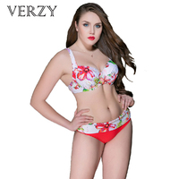 Verzy Women Bikini Sets Lacing Adjustable Large Plus Size Floral Wide Belt Push Up Bquinis Sexy 2018 Summer Beachwear for Female