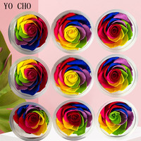 YO CHO 9 10CM Big Rose Eternelle Natural Rose Preserved Flowers 5 6CM Colour Immortal Roses Valentine's day Gift DIY Party Decor
