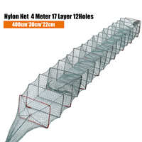 4M Nylon Fishing Net Foldable Portable Crab Crayfish Lobster Catcher Live Trap Fish Eel Prawn Shrimp Lure