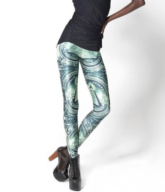 Leggings for women Shiny BLACK Milk Leggings ladys Clothing Digital Print Pants THE DOLLAR LEGGINGS---K186