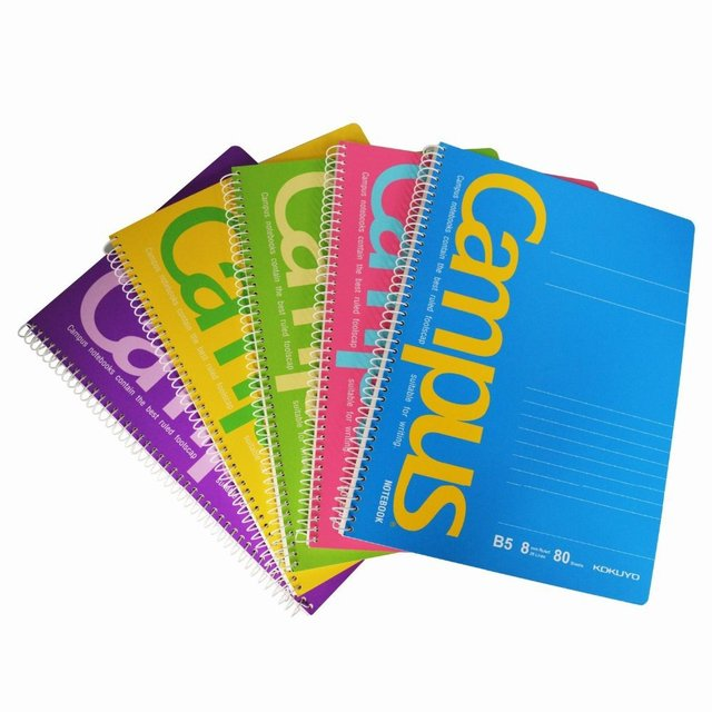 kokuyo b5 spiral notebook 8mm rule with 26 lines 80 sheets 5 colors
