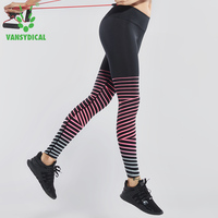 Vansydical Reflective Fitness Sports Leggings Women's Running Compression Tights Elastic Workout Striped Gym Yoga Pants