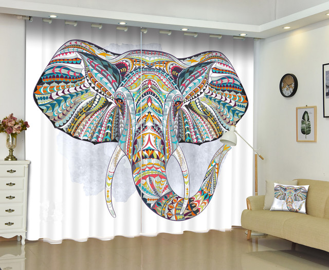 Bohemian Style Colorful Elephant Curtains Decorative For Bedding Room Thick Soft Backout Window Curtain Hook Grommet