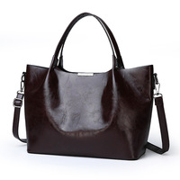 Genuine Leather Bag Fashion Women Handbag Oil Wax Leather Women Bag Large Capacity Tote Bag Big Ladies Shoulder Bags Famous C823