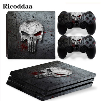 Skull Design Viny Decal Sticker For PS4 Pro Console + 2 Controller Skin Sticker For Sony Playstation 4 Pro Game Accessories
