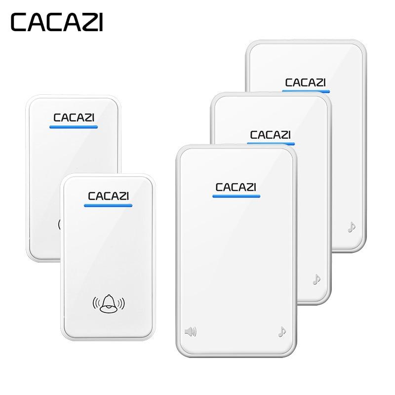 CACAZI drahtlose türklingel 2 wasserdichte tasten + 3 EU plug-in empfänger 300 mt remote draadloze deurbel tür ring sonnette sans fil