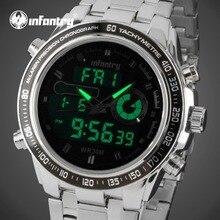 INFANTRY Watches Men Luxury Brand Stainless Steel Chronograph Sports Digital Watches Waterproof Quartz-watch Relogio Masculino