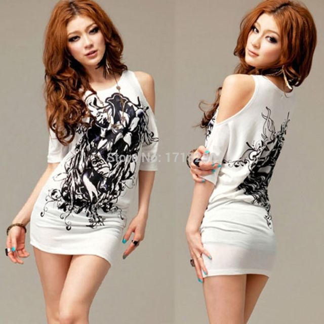 a4328d6eeb41 Casual Womens Lady Girl Sexy Graphic Micro Mini Dress White Off Shoulder T-shirt  Tops