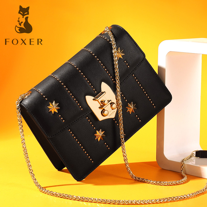 FOXER Women Split Leather Chain Flap Bag Female Hight Quality Fashion Crossbody Bag New Design Rivet Messenger Bags Shoulder Bag