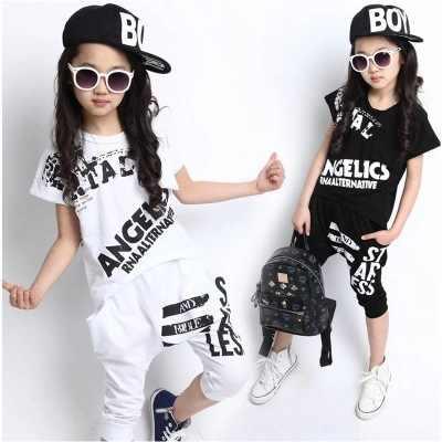 5bcffa50f176e Blanco negro niños adultos niña niño JAZZ hip hop hiphop actuación danza  traje algodón camiseta harem