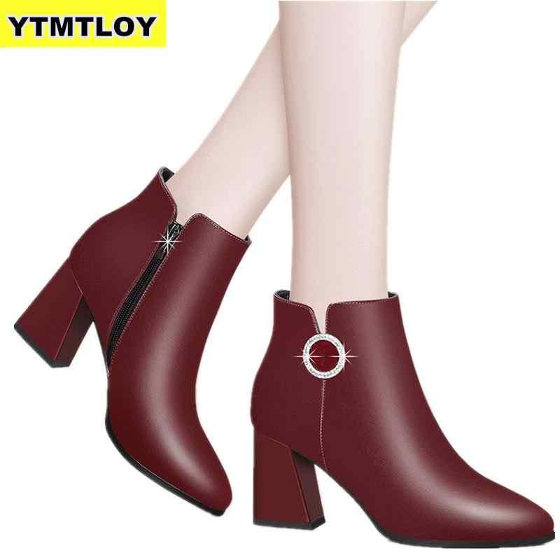 Kare Topuk Kadın Çizmeler Moda Toka Ayak Bileği çizmeler kadın ayakkabıları Fermuar Ucuz Yüksek Topuk Çizmeler Ayakkabı Kadın Deri Botas Mujer