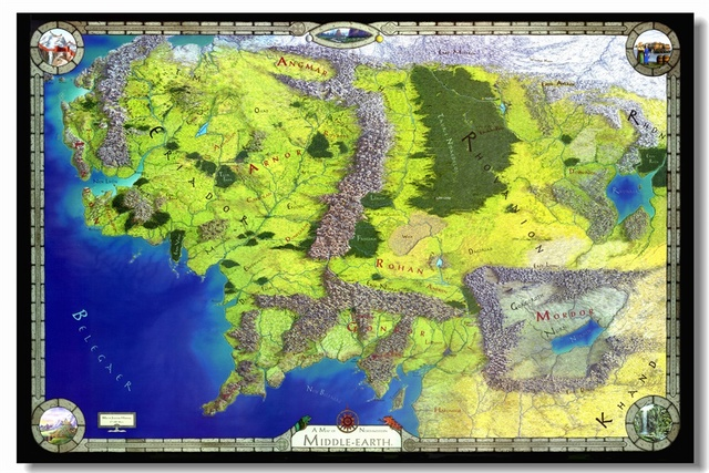 custom canvas wall decals the lord of the rings map wallpaper world map of middle earth