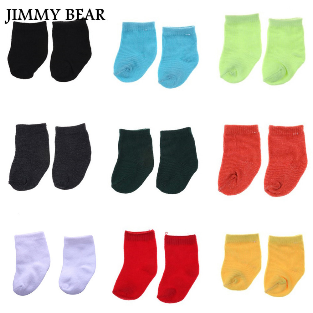 JIMMY BEAR 9 Pairs/Set 18 Inch American Girl Doll Socks Doll Clothes Wear Fit 43cm Baby Born Doll Sock Children Birthday Gifts