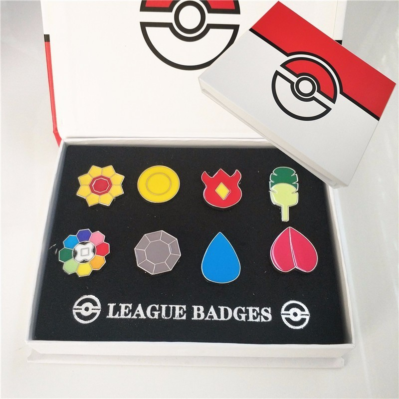 8pcs/set Pokemon Gym Badges Kanto Johto Hoenn Sinnoh Unova Kalos League Region Orange Islands Pins Brooches With Gift Box