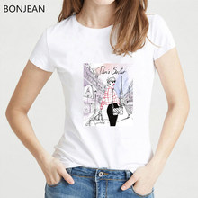 Enjoy the spirit Paris Eiffel Tower T Shirt women summer hipster t-shirt femme novelty design casual ladies Tops cute Girl Tee(China)