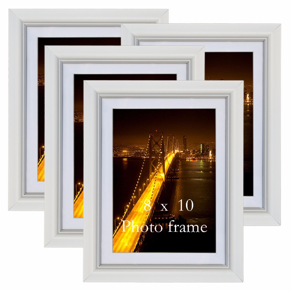 Giftgarden 8x10 White Fashion Art Pattern Wall Picture Frames Living Room Decor Wooden Photo Frames Set
