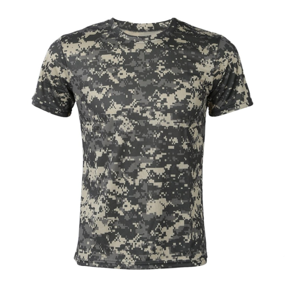 New  Camouflage T-shirt Men Breathable Army Tactical Combat T Shirt Military Dry Camo Camp Tees-ACU Green