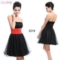 Ever Pretty HE03214BK Cute StraplessRhinestones Organza Short Crystal cocktail black dress