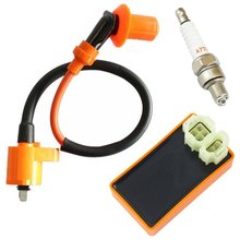 Knight Hot Sale Motorcycle Performance CDI+ Ignition Coil + Spark Plug Fit Gy6 50cc 125cc 150cc horizontal Engines QMJ/QMI157