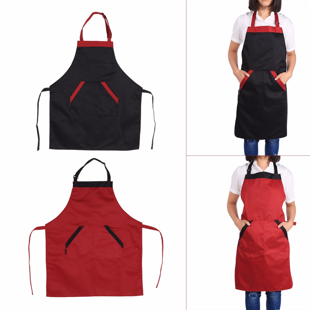 2 Colors Black Red Adjustable Unisex Polyester Apron Dress with 2 ...