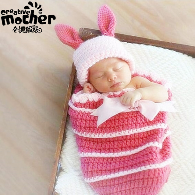 Pink Cute Rabbit 3d Handmade Knitting Photography Props Costume Knitted Girls Baby Sleeping Bag Knitting Baby Beanies Hats