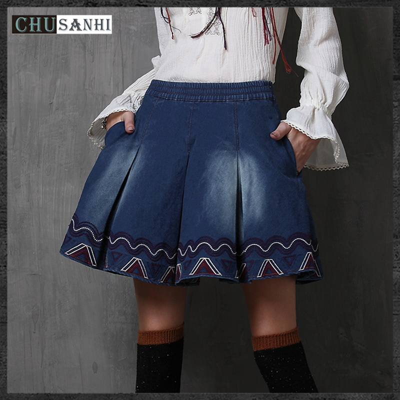 Womens summer embroidery denim mini skirt ladies casual pleated jeans skirts High quality Vintage Solid blue slimming boho skirt