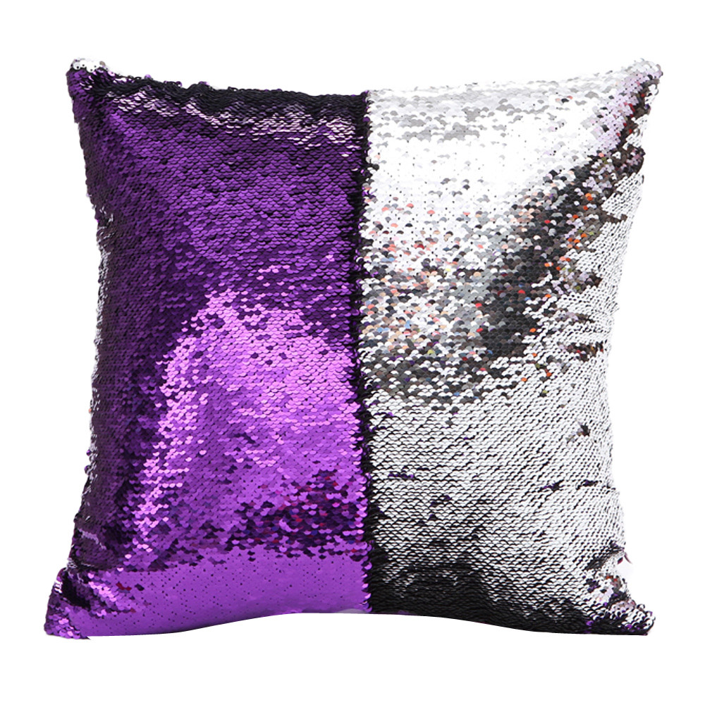 DIY Double Color Glitter fashion Sequins Throw Pillow Cover Sofa Bed Home Coffee Decoration 40cm*40cm Cushion Cover-in Cushion Cover from Home & Garden