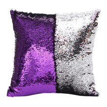 DIY Double Color Glitter fashion Sequins Throw Pillow Cover Sofa Bed Home Coffee Decoration 40cm*40cm Cushion Cover