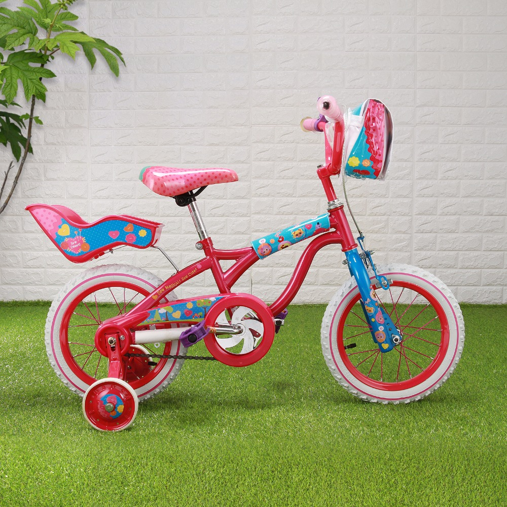 Bike 14'' Super Little Girl Red & Pink Bike With Training Wheels Kids Cycling Bike Student Bicycle+Front Bag+Back Seat