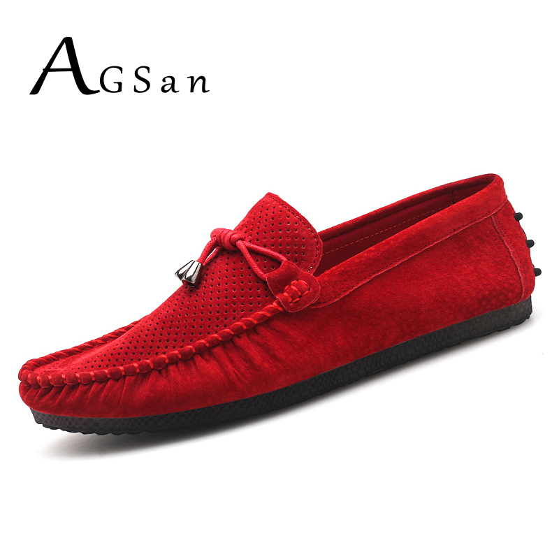 AGSan Summer Breathable Men Loafers Genuine Leather Tassel Loafers Driving Shoes Slip On Mens Moccasins Hot Selling Flats Mens genuine leather shoes men top quality driving flats shoes soft leather men shoes loafers moccasins breathable zapatos hombre