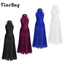 TiaoBug robe de Ballet longue Vintage en maille pour femme, robe de Ballet, sans manches, élégante, col, justaucorps, tenue de danse sur scène