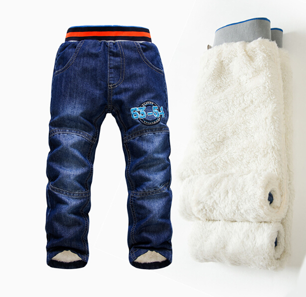 High quality thick winter warm cashmere children's children's pants for boys children's pants children jeans SK076