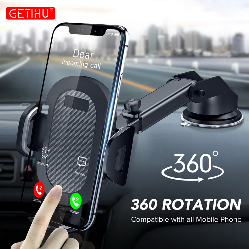 GETIHU voiture Support téléphone 360 ° pare-brise Mobile Support cellulaire Smartphone Support de montage universel pour iPhone 12 11 7 8 Samsung Huawei