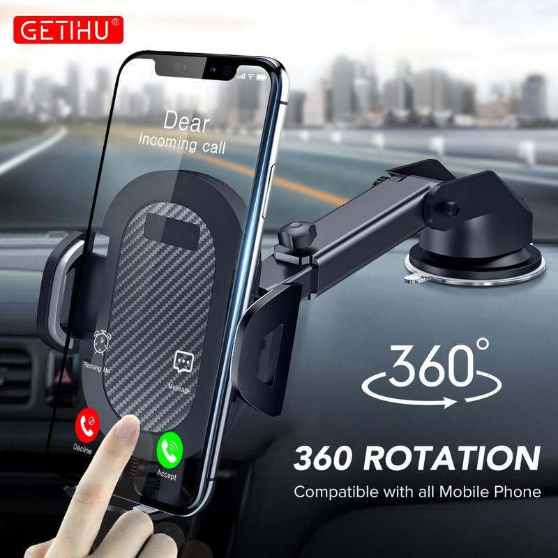 Suporte do telefone do carro de getihu 360 ° pára-brisa celular móvel suporte smartphone universal suporte de montagem para iphone 12 11 7 8 samsung huawei