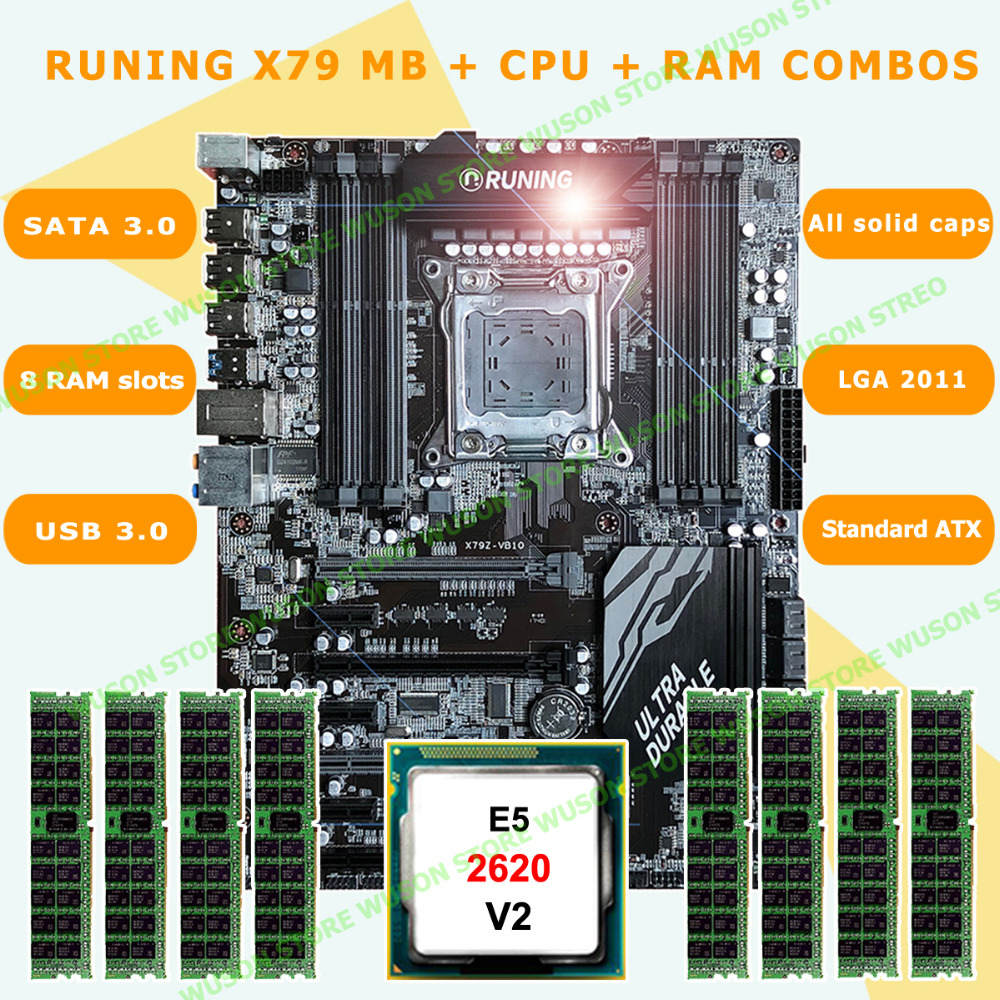 Hot sell discount motherboard bundle brand Runing Super X79 motherboard with CPU Xeon <font><b>E5</b></font> <font><b>2620</b></font> <font><b>V2</b></font> RAM 32G(8*4G) RECC 8 RAM slots image