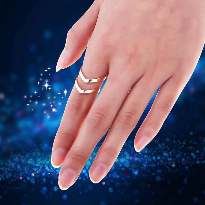 Модный Золотой посеребренный двойной v-образной формы полуоткрытый Регулируемый винтажные женские кольца очаровательные украшения
