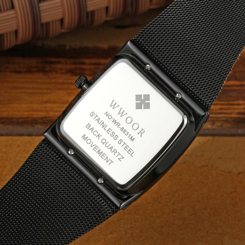 Image 5 - 2019 WWOOR Top Brand Luxury Mens Square Quartz Watches Male Waterproof Date Clock Black Mesh Stainless Steel Wrist Watch For MenQuartz Watches   -